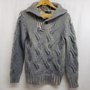 Zara Man Alpaca Wool Blend Shawl Collar Sweater Lg